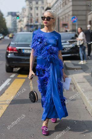 Editorial image of Street Style, Spring Summer 2019, Milan Fashion Week, Italy - 22 Sep 2018