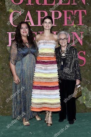 Angela Missoni (L), Brazilian model Isabeli Fontana and Rosita Missoni attend Green Carpet Fashion Awards 2018, in Milan, Italy, 23 September 2018. The Spring Summer 2019 Women's collections are presented at the Milano Moda Donna from 19 to 23 September.
