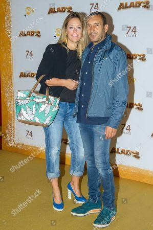 Zinedine Soualem (R) and wife Caroline Faindt (L)