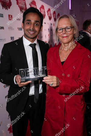Akshay Sharan accepts the award, presented by Phyllida Lloyd, for Best Actor in a Play