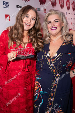Gemma Dobson accepts the award, presented by Jodie Prenger, for Best Actress in a Play