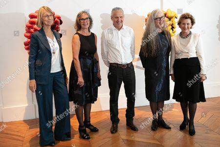 French Minister of Culture Francoise Nyssen, Kari Dyrdal Artist, Torbjorn Kvasbo Artist, Marit Tingleff and Queen Sonja
