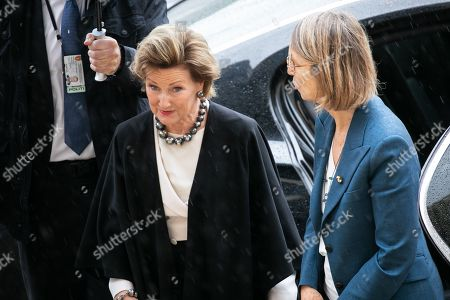 French Minister of Culture Francoise Nyssen welcomes Queen Sonja from Norway
