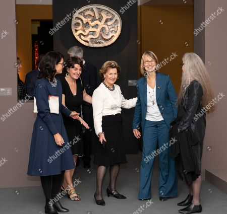 Romane Sarfati General Director of National Museum of Ceramics(L), French Minister of Culture Francoise Nyssen (2R) and Marit Tingleff artist