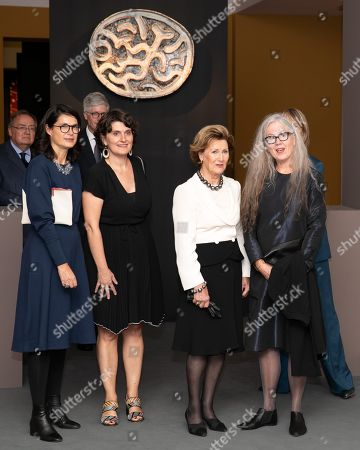 Romane Sarfati General Director of National Museum of Ceramics(L), Marit Tingleff artist and Queen Sonja and French Minister of Culture Francoise Nyssen (R)