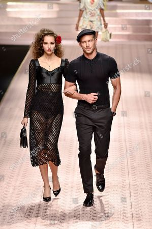 Stock Image of Emma Arruda and Adam Senn on the catwalk