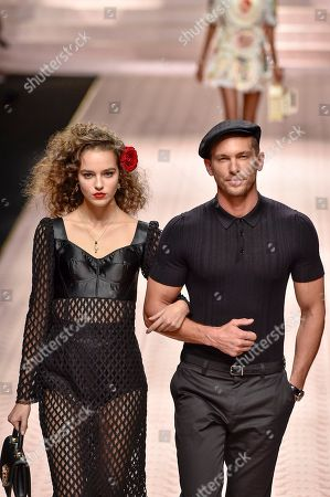 Emma Arruda and Adam Senn on the catwalk