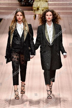 Gabriella Beardsworth and Daisy Maybe on the catwalk