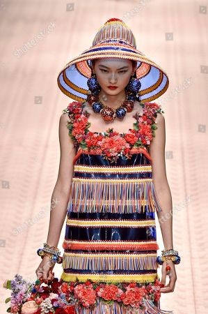 Stock Image of He Cong on the catwalk