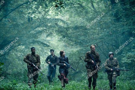 Stock Picture of Jovan Adepo as Boyce, Dominic Applewhite as Rosenfeld, Mathilde Ollivier as Chloe, Wyatt Russell as Ford, John Magaro as Tibbet