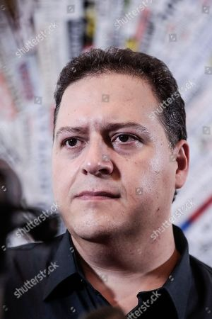 Stock Photo of The author and architect Sebastian Marroquin, born as Juan Pablo Escobar, son of Pablo Escobar, during a press conference for 'Pablo Escobar, Una storia da non ripetere ' at the foreign press association headquarters in Rome