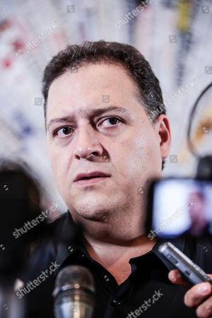 Stock Picture of The author and architect Sebastian Marroquin, born as Juan Pablo Escobar, son of Pablo Escobar, during a press conference for 'Pablo Escobar, Una storia da non ripetere ' at the foreign press association headquarters in Rome