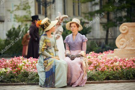 Olivia Cooke as Becky Sharp and Claudia Jessie as Amelia Sedley.
