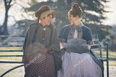 Felicity Montagu as Miss Arabella Briggs and Claudia Jessie as Amelia Sedley.