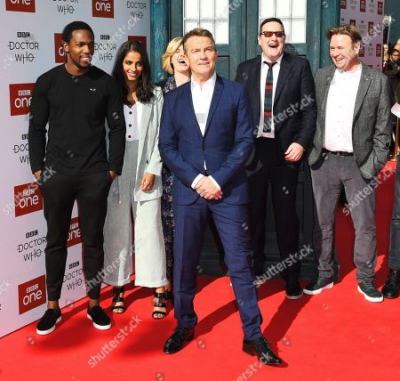 Tosin Cole, Mandip Gill, Jodie Whittaker, Bradley Walsh and Chris Chibnall