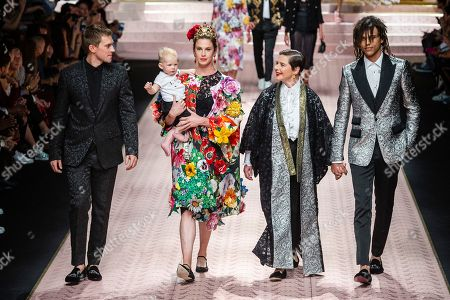 Stock Image of Isabella Rossellini and Elettra Rossellini Wiedemann on the catwalk