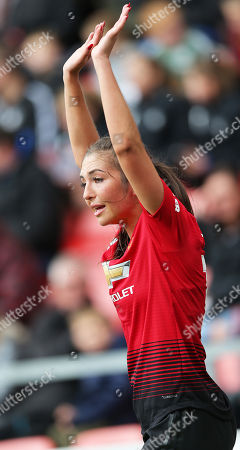Goalkeeper Hannah Reid of DurhamKatie Zelem of Manchester United Women