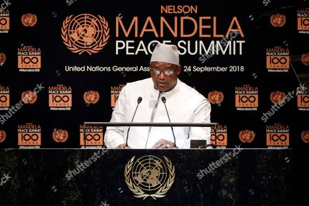 Gambia's President Adama Barrow addresses the Nelson Mandela Peace Summit in the United Nations General Assembly, at U.N. headquarters