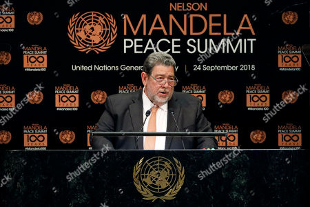 Prime Minister of Saint Vincent and the Grenadines Ralph Gonsalves addresses the Nelson Mandela Peace Summit in the United Nations General Assembly, at U.N. headquarters