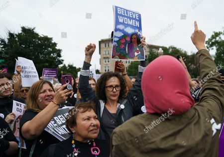 Linda Sarsour, Donald Trump. Linda Sarsour with Women's March, right, calls out to other activists opposed to President Donald Trump's embattled Supreme Court nominee, Brett Kavanaugh, in front of the Supreme Court on Capitol Hill in Washington, . A second allegation of sexual misconduct has emerged against Judge Brett Kavanaugh, a development that has further imperiled his nomination to the Supreme Court, forced the White House and Senate Republicans onto the defensive and fueled calls from Democrats to postpone further action on his confirmation. President Donald Trump is so far standing by his nominee
