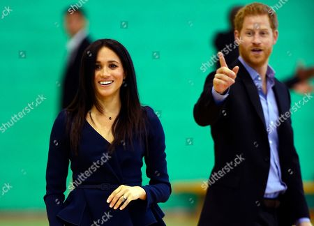 Britain's Prince Harry and Meghan Duchess of Sussex attend the Coach Core Awards at Loughborough University, Loughborough, England,. With masterclasses from sports stars such as marathon runner Paula Radcliffe, British tennis star Laura Robson and England netballer Eboni Beckford-Chambers, more than 200 young Coach Core apprentices will take part in the full day of sports training and mentoring before the awards ceremony, which will celebrate the achievements of young people who have taken part in this life-changing programme