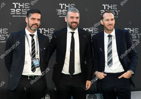Stock Photo of Former goalkeepers Mark Schwarzer (R) and Pascal Zuberbuehler (L) arrive for the Best FIFA Football Awards 2018 in London, Great Britain, 24 September 2018. Man in center is unidentified.