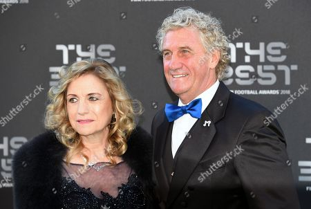 Former Belgian international goalkeeper Jean-Marie Pfaff and wife Carmen Seth arrive for the Best FIFA Football Awards 2018 in London, Great Britain, 24 September 2018. Man in center is unidentified.