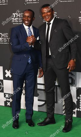 Former Manchester United forward Dwight Yorke (L) and former French international Marcel Desailly arrive for the Best FIFA Football Awards 2018 in London, Great Britain, 24 September 2018.