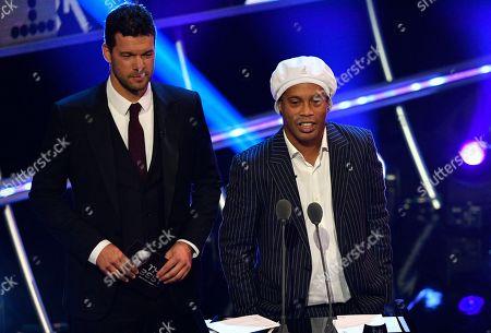 German former international Michael Ballack (L) and Brazilian former international Ronaldinho attend the FIFA Fair Play Award during the Best FIFA Football Awards 2018 in London, Great Britain, 24 September 2018.