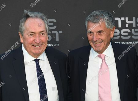 Former France and Liverpool manager Gerard Houllier (L) and David Dein (R), former vice-chairman of Arsenal, arrive for the Best FIFA Football Awards 2018 in London, Britain, 24 September 2018.