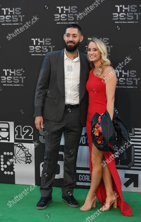 US player Clint Dempsey arrives with his wife Bethany Dempsey to the Best FIFA Football Awards 2018 in London, Britain, 24 September 2018.