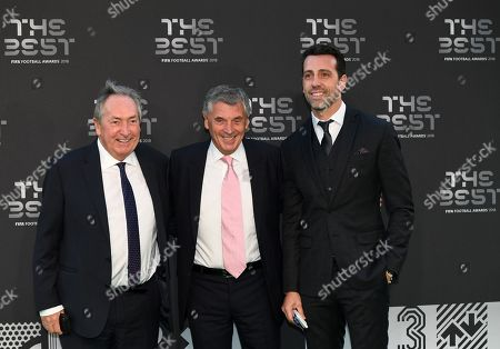(L-R) Former France and Liverpool manager Gerard Houllier, former vice-chairman of Arsenal David Dein, and former Sevilla goalkeepr Andres Palop arrive for the Best FIFA Football Awards 2018 in London, Britain, 24 September 2018.