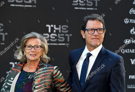 Former England, AC Milan, AS Roma and Real Madrid head coach Fabio Capello (R) and his wife Laura Ghisi arrive for the Best FIFA Football Awards 2018 in London, Great Britain, 24 September 2018.