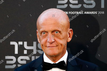 Stock Picture of Pierluigi Collina, former soccer referee, arrives for the ceremony of the Best FIFA Football Awards in the Royal Festival Hall in London, Britain