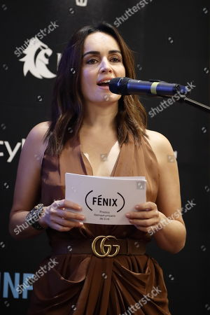 Mexican actress Ana de la Reguera speaks during the presentation of the nominees for the Fenix Ibero-American Film Awards, whose ceremony will be held on November 7, in Mexico City, Mexico, 24 September 2018. The Colombian film 'Birds of Passage' (Pajaros de verano) and the Argentinean 'Zama' start as favorites at the Fenix Awards with nine and eight nominations respectively.
