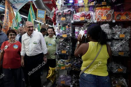 Geraldo Alckmin, presidential candidate for the Social Democratic Party campaigns at the Madureira market in Rio de Janeiro, Brazil, . Brazil will hold general elections on Oct. 7