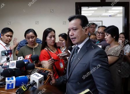 Philippine Senator Antonio Trillanes IV holds a press conference after posting bail for an arrest warrant in Pasay City, south of Manila, Philippines, 25 September 2018. A Makati City regional trial court issued an arrest warrant for Trillanes on 25 September, in relation to rebellion charges against him during the term of former President Gloria Macapagal-Arroyo. Philippine President Rodrigo Duterte, through a proclamation signed on 31 August, revoked the amnesty granted to Trillanes in relation to his involvement in military uprisings against former President Macapagal-Arroyo.
