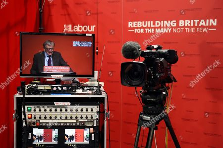 A television screen showing Baron Alfred Dubs MP speaking at the Labour Party Conference in Liverpool, Britain, 25 September 2018. The annual Labour Party Conference will run from 23 September until Wednesday 26 September.