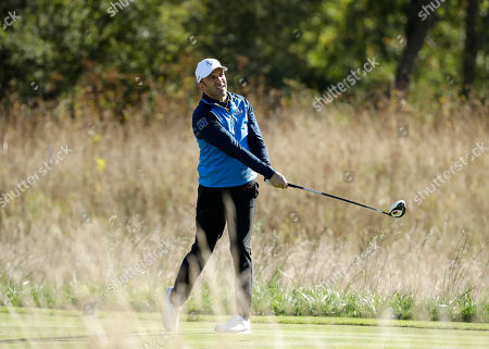 Soccer legend Alessandro Del Piero of Europe plays from the 14th tee in the Ryder Cup Celebrity Challenge match at Le Golf National in Saint-Quentin-en-Yvelines, outside Paris, France, . The 42nd Ryder Cup will be held in France from Sept. 28-30, 2018 at Le Golf National