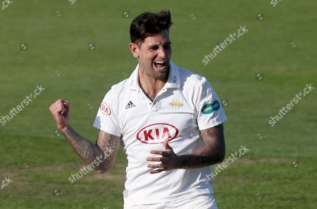 Jade Dernbach of Surrey celebrates taking the wicket of Jamie Porter during Surrey CCC vs Essex CCC, Specsavers County Championship Division 1 Cricket at the Kia Oval on 25th September 2018