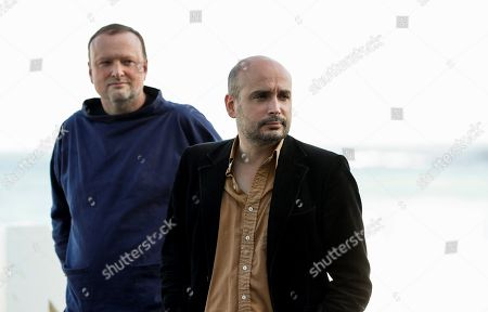 Stock Picture of British director Peter Strickland (R) and producer Andy Starke pose during the presentation of his film 'In Fabric' at the 66th edition of San Sebastian international Film Festival (SSIFF), in San Sebastian, Basque Country, northern Spain, 25 September 2018. The SSIFF will be held from 21 to 29 September 2018.
