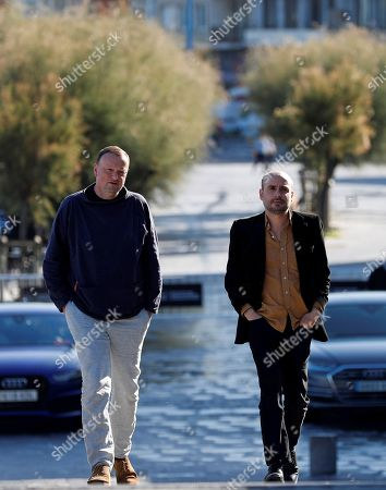 Stock Image of British director Peter Strickland (R) and producer Andy Starke arrive for the presentation of his film 'In Fabric' at the 66th edition of San Sebastian international Film Festival (SSIFF), in San Sebastian, Basque Country, northern Spain, 25 September 2018. The SSIFF will be held from 21 to 29 September 2018.