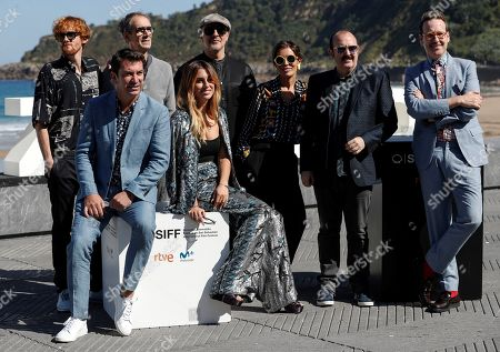Spanish actors and cast members Roberto Alamo (rear, 3-L), Carlos Areces (2-R), Joaquin Reyes (R), Cesar Sarachu (2-L, rear), Blanca Suarez (C) and Arturo Valls (L) pose for photographers during the presentation of the film 'Tiempo después' (lit: Time After) at the 66th edition of San Sebastian international Film Festival (SSIFF), in San Sebastian, Basque Country, northern Spain, 25 September 2018. The SSIFF will be held from 21 to 29 September 2018.
