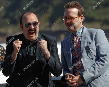 Spanish actors and cast members Carlos Areces (L) and Joaquin Reyes pose for the photographers during the presentation of the film 'Tiempo después' (lit: Time After) at the 66th edition of San Sebastian international Film Festival (SSIFF), in San Sebastian, Basque Country, northern Spain, 25 September 2018. The SSIFF will be held from 21 to 29 September 2018.