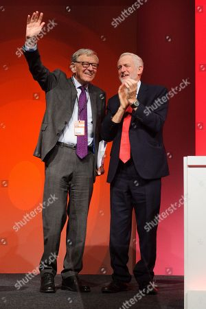 Jeremy Corbyn MP, congratulates Lord Alf Dubs - Labour politician and former Member of Parliament, after his speech