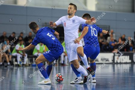 Richard Ward of England battles for the ball with Stjepan Perisic and Maro Duras of Croatia during England vs Croatia, International Futsal Friendly Football at St George's Park on 24th September 2018