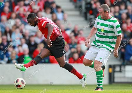 Celtic & Ireland Legends vs Manchester United Legends. Manchester United's Louis Saha scores their second goal
