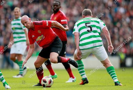 Celtic & Ireland Legends vs Manchester United Legends. Manchester United's Nicky Butt with Richard Dunne of Celtic & Ireland