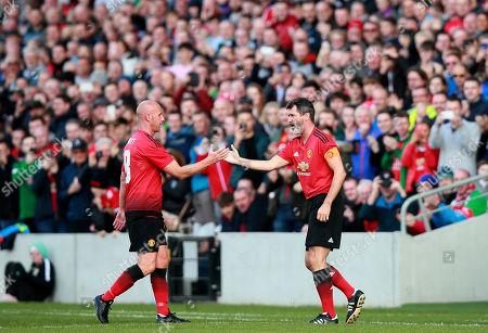Celtic & Ireland Legends vs Manchester United Legends. Manchester United's Nicky Butt with Roy Keane