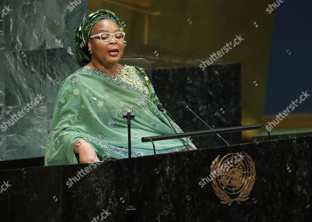 Nobel Peace Laureate Leymah Gbowee speaks during the 73rd session of the General Assembly of the United Nations at United Nations Headquarters in New York, New York, USA, 25 September 2018. The General Debate of the 73rd session begins on 25 September 2018.